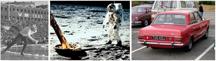 Per Ivar Moe i 67, Neil Armstrong i 69 og bilen til Helge som fikk kjørt seg fra 71 og utover.